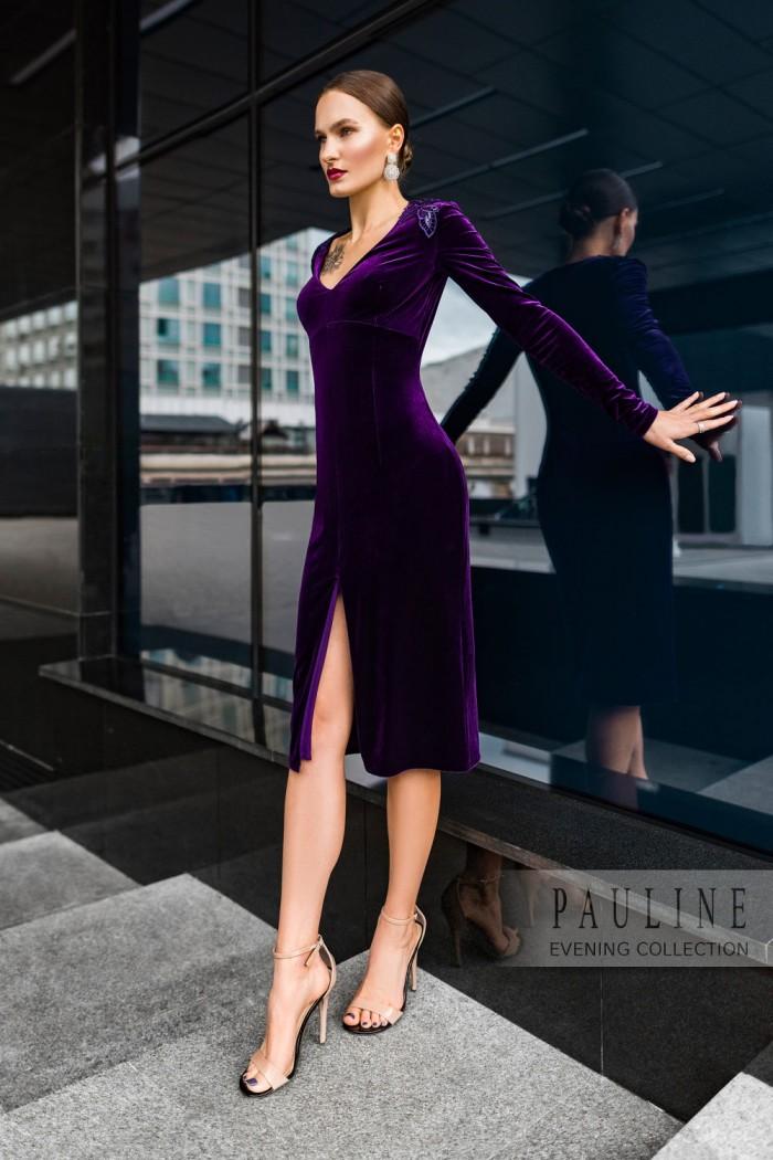 Предельно элегантное вечернее платье из бархата ЭНИСТОН Миди