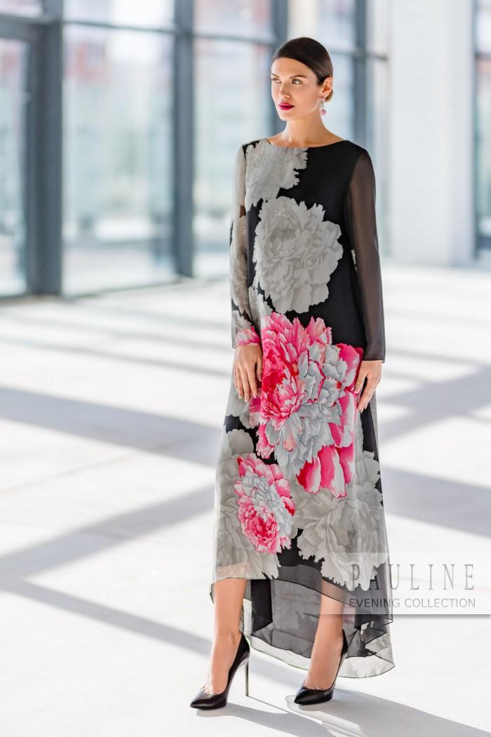 Необычайно эффектное шелковое вечернее платье АСТЕРА