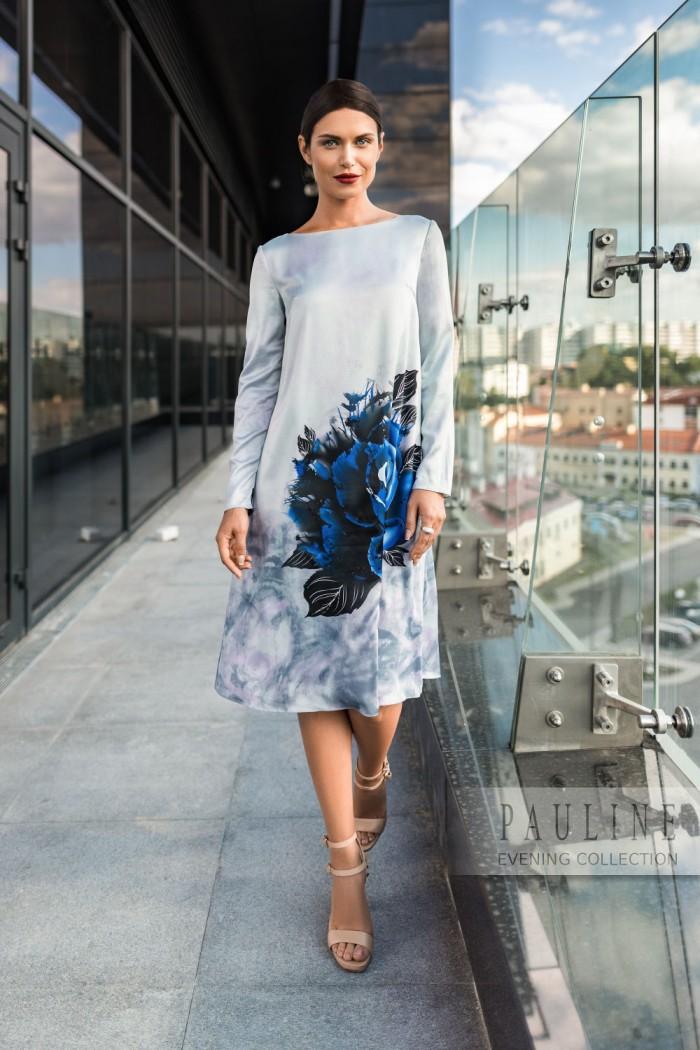 Экстравагантное вечернее платье из атласа с цветочным принтом БЛОССЕМ