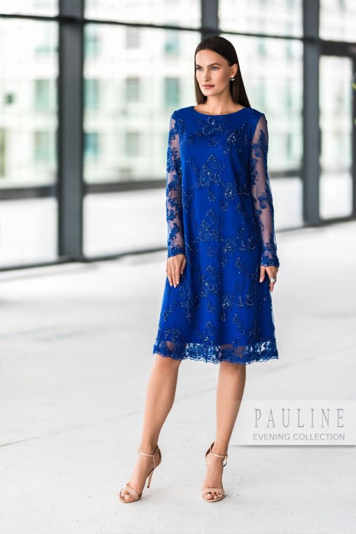 Короткое вечернее платье глубокого синего цвета ДЖУН