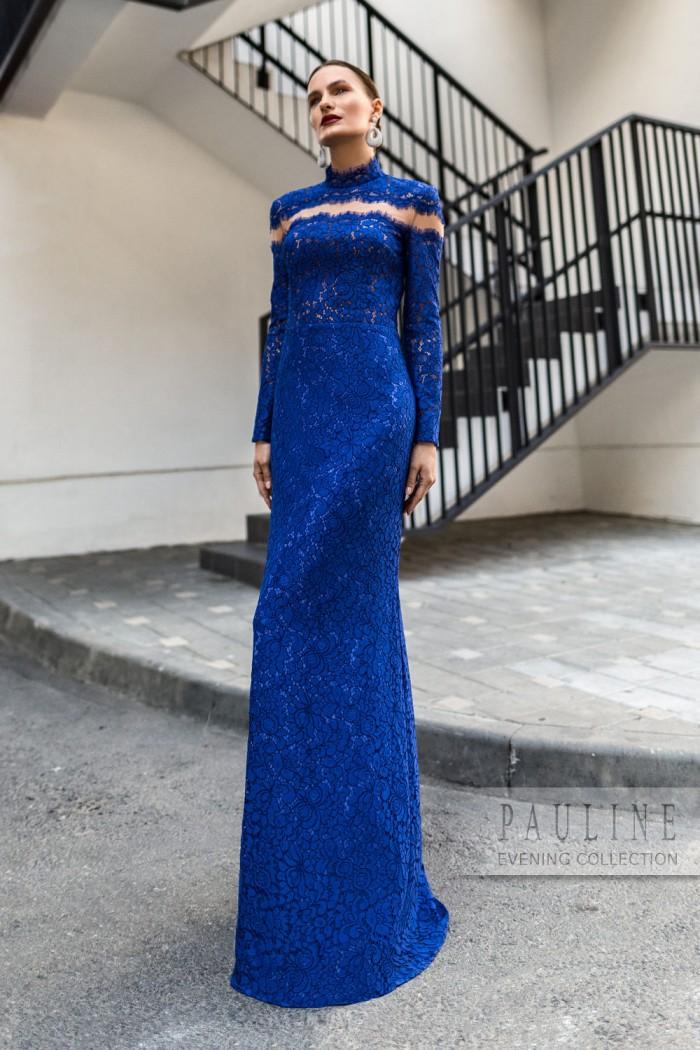 Вечернее платье с эффектом имитирующим горизонтальный вырез ЛЕДА Макси