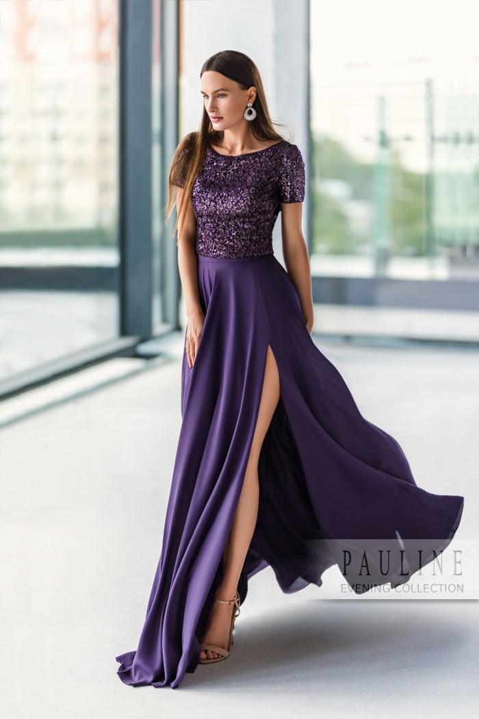 Безукоризненно элегантное вечернее платье темно фиолетового цвета ПОЛА