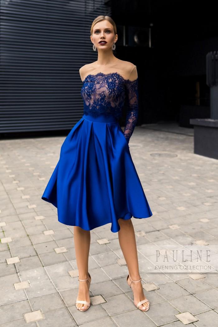 Изящное вечернее платье из кружева с атласной юбкой ШВАРЦ