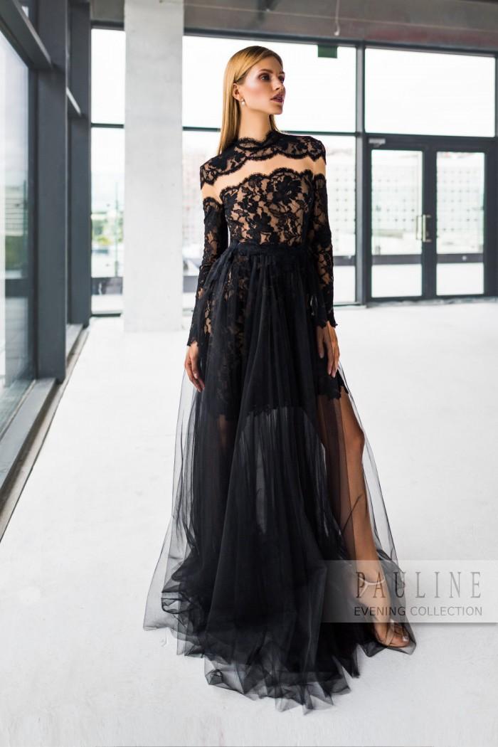 Маленькое кружевное платье с макси-юбкой из мягкого фатина ШВАРЦВАЛЬД