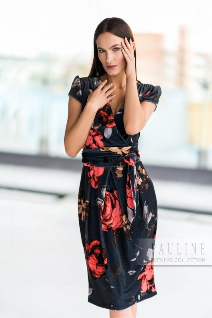 Вечернее платье из мягкого бархата с крупным принтом СОФИ