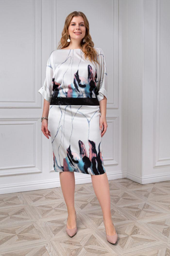 Стильное платье с оригинальной спинкой и акварельным рисунком КАЛЬДЕРА +