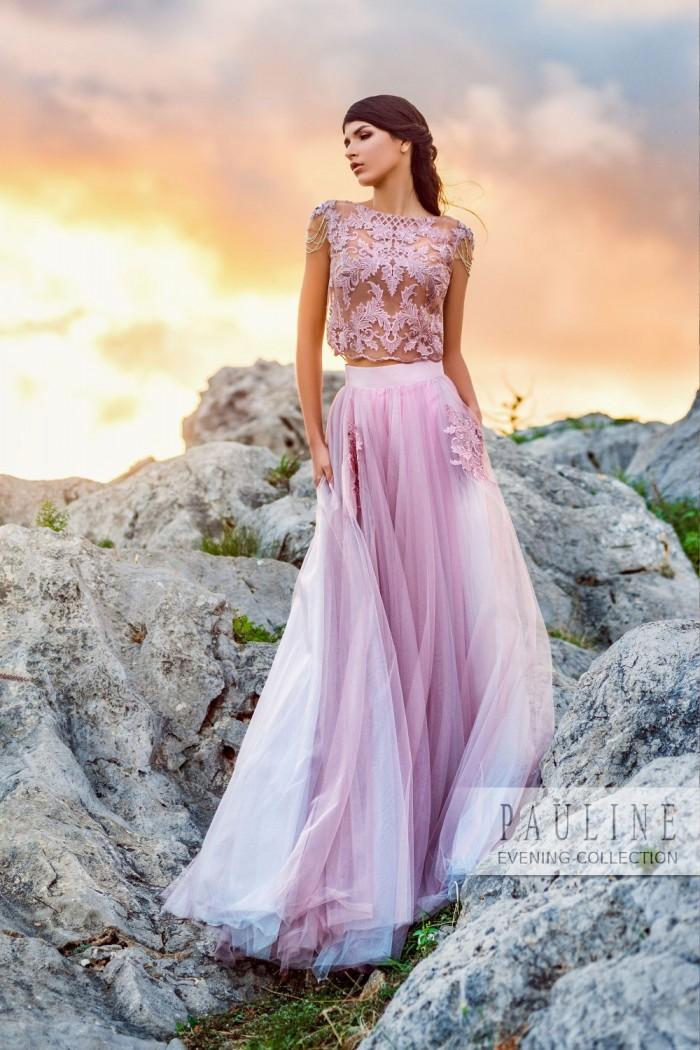 Нежное вечернее платье с прозрачным топом и изысканной вышивкой АЛЬБИОН