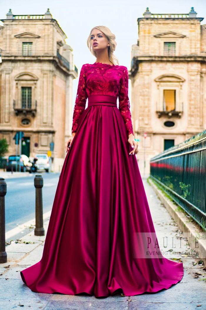 Кружевное вечернее платье с длинной юбкой АМБЕР
