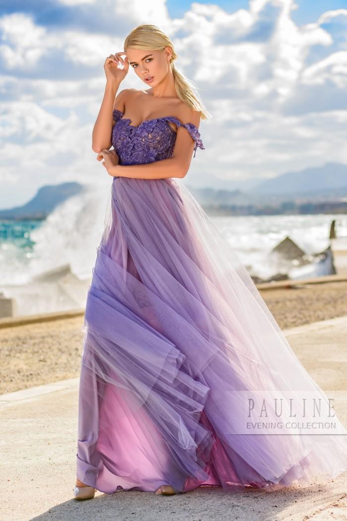 Необыкновенное вечернее платье из многослойного фатина БРЕТАНЬ