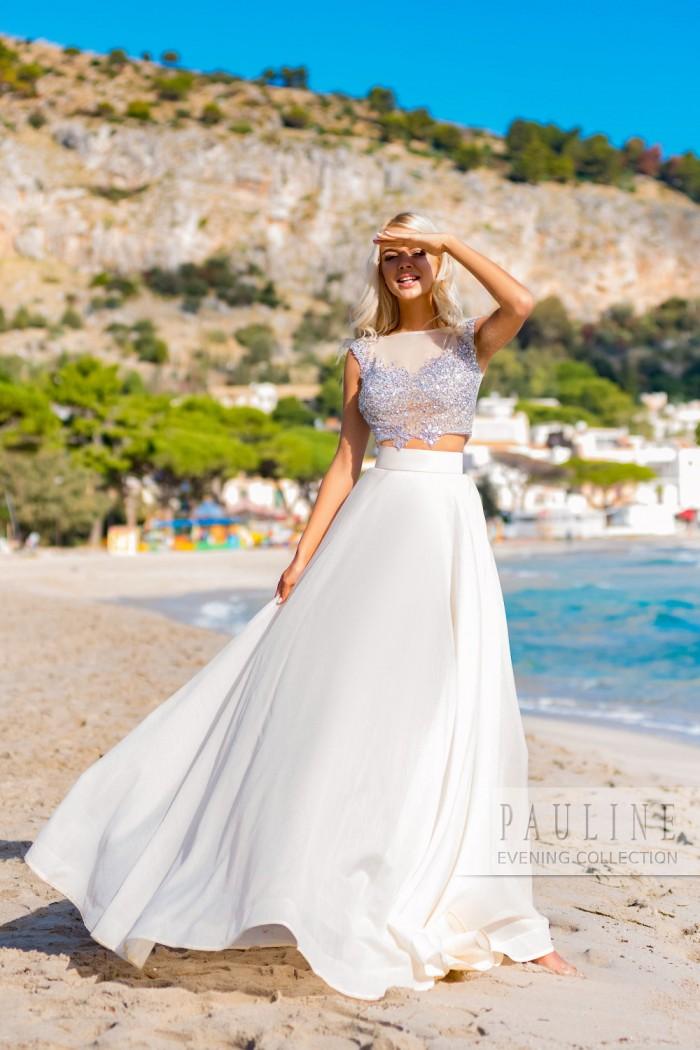 Вечернее платье с россыпью кристаллов на лифе и шелковой юбкой КАЛИФОРНИЯ