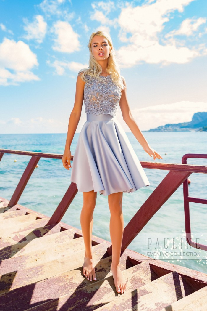 Короткое платье с мини-юбкой и расшитым кристаллами топом ДАЛЛАС