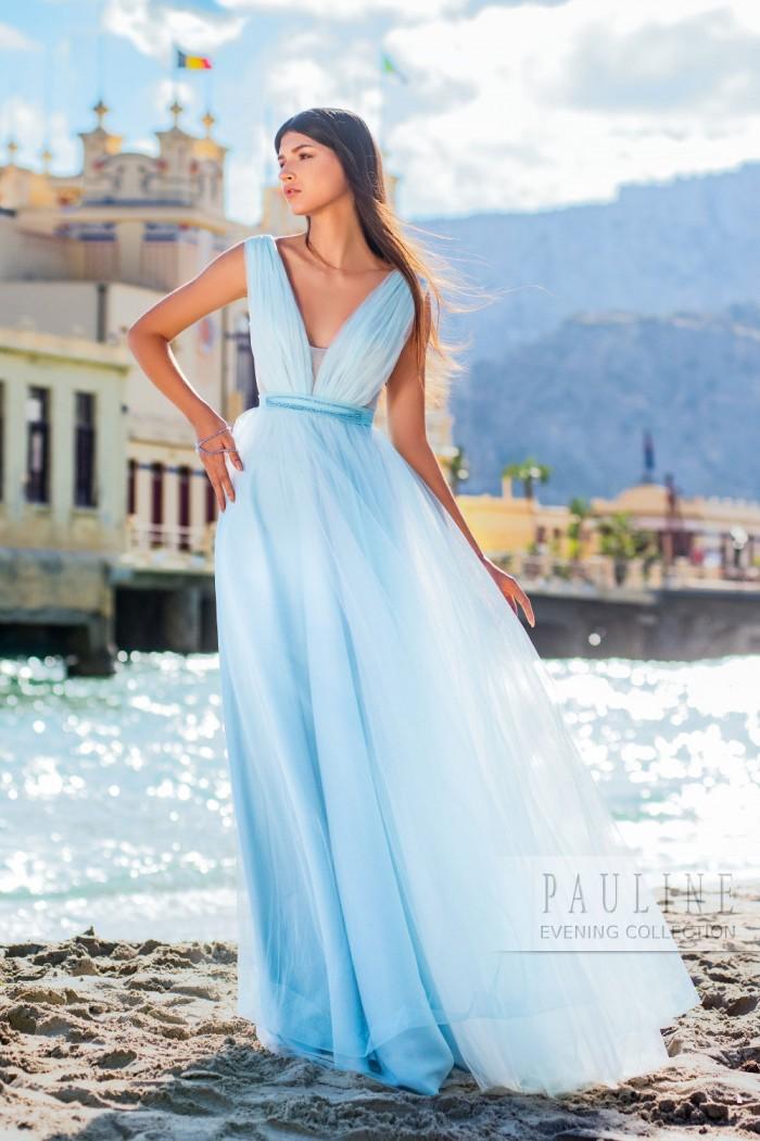 Невесомое вечернее платье со струящейся юбкой ДОВИЛЬ
