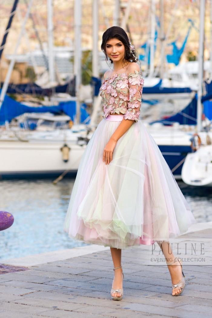 Розовое вечернее платье с воздушной юбкой ДОМИНИКАНА