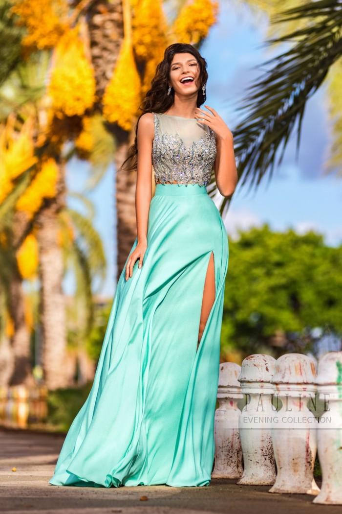 Красивое платье с искрящимся кристаллами ФИДЖИ