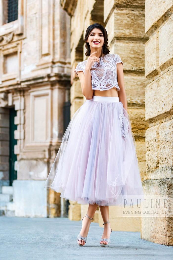 Платье с пышной юбкой и кружевным топом ЛИССАБОН