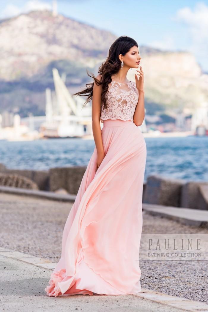 Женственное вечернее платье нежного цвета МОНАКО