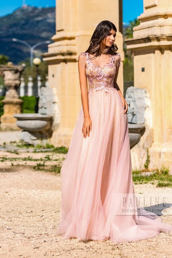 Прелестное платье из невесомого фатина и ажурной сетки ПЕРУ