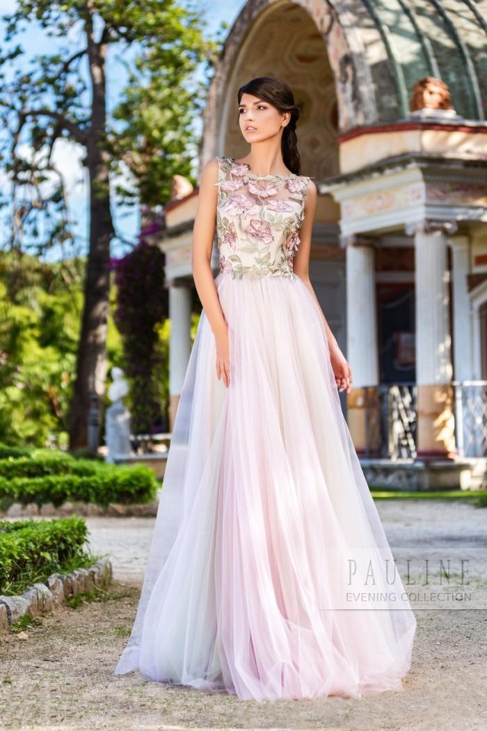 Чувственное вечернее платье с вышитыми объёмными цветами ВЕРДОН