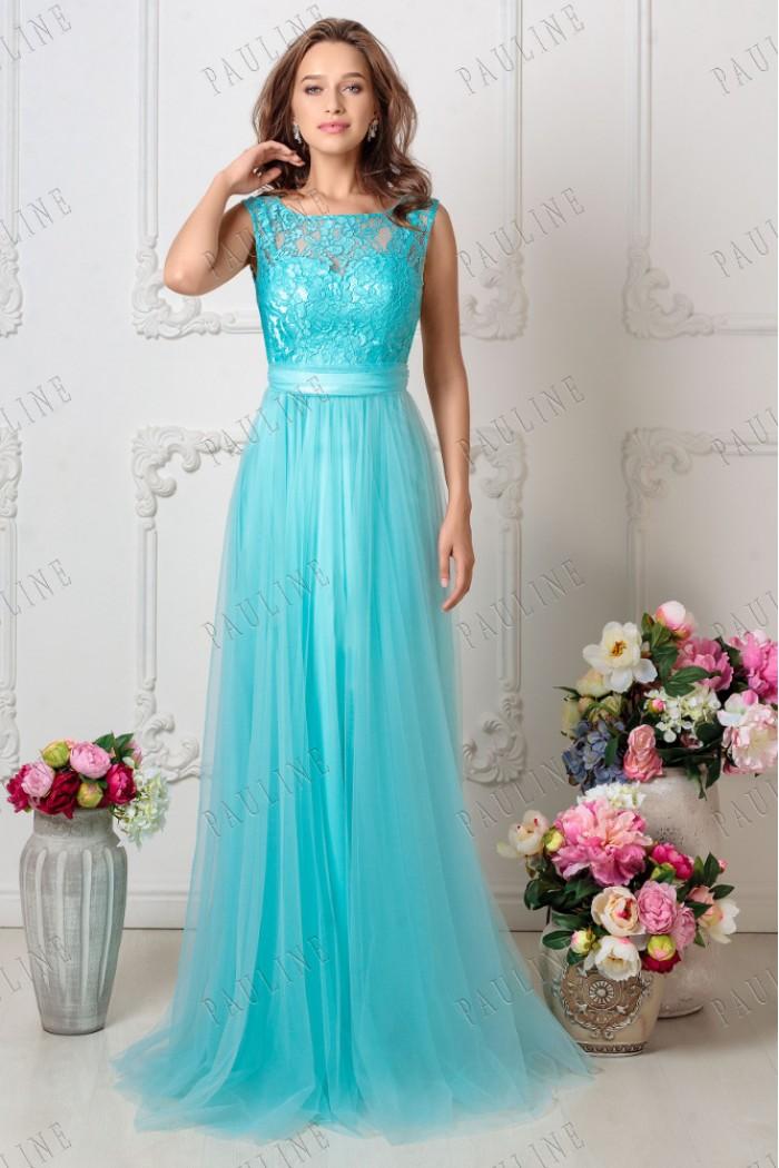 Бирюзовое длинное вечернее платье с кружевным топом БЬЕН МАКСИ