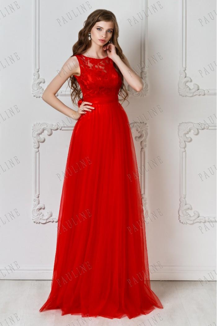 Красное длинное вечернее платье с кружевным топом БЬЕН МАКСИ