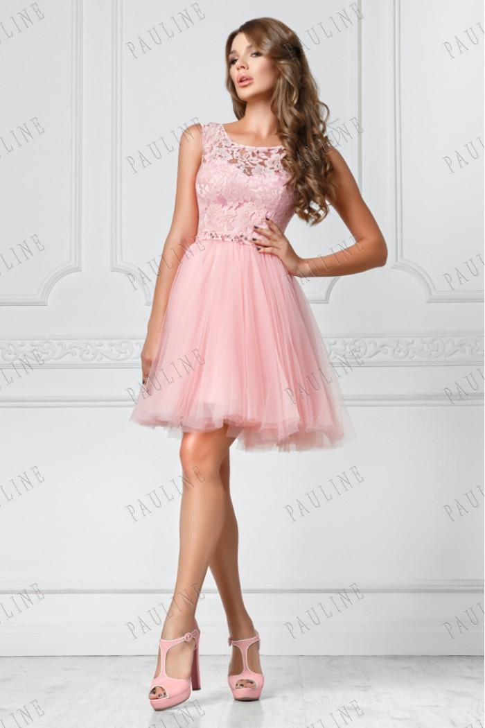 Розовое короткое вечернее платье с кружевным топом БЬЕН МИНИ