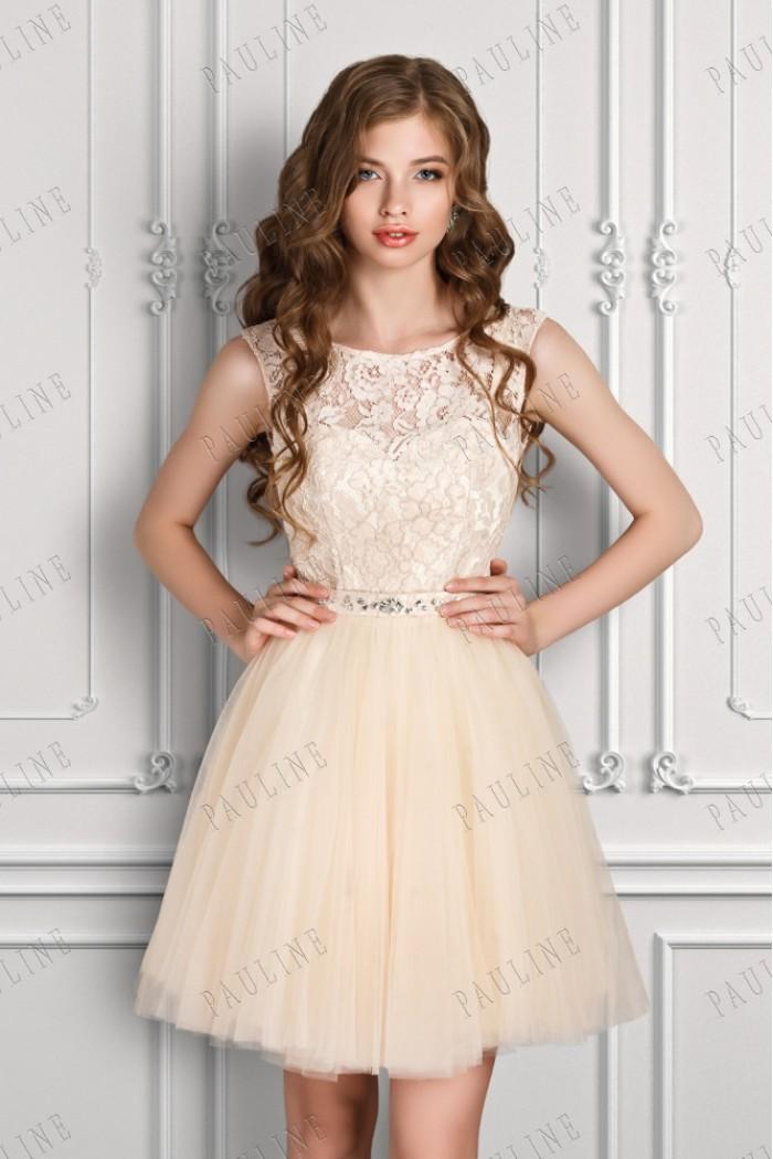 Короткое вечернее платье с пышной юбкой и кружевным лифом БЬЕН МИНИ