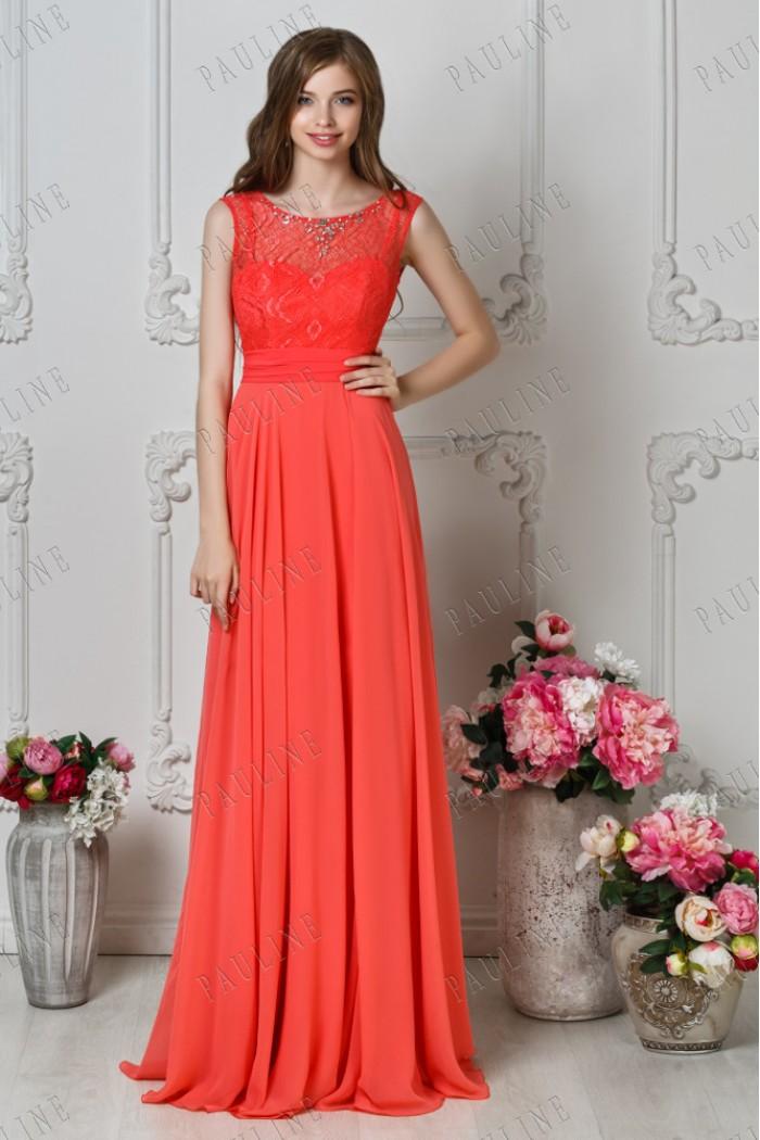 Вечернее платье с длинной юбкой и кружевным верхом ДАЛИЛА