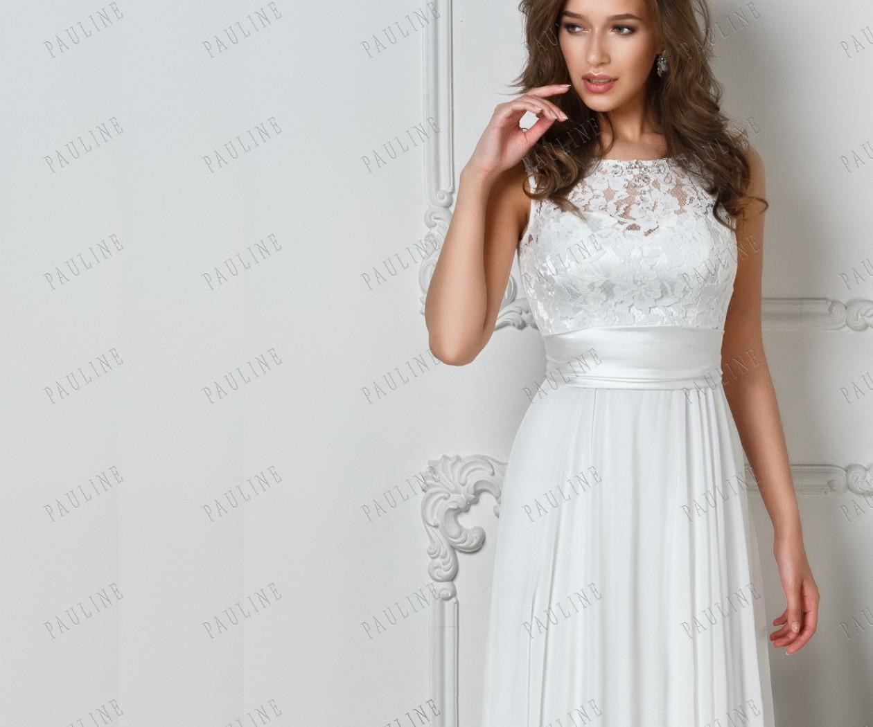 Свадебное платье с кружевным верхом, поясом и камнями ДАЛИЛА