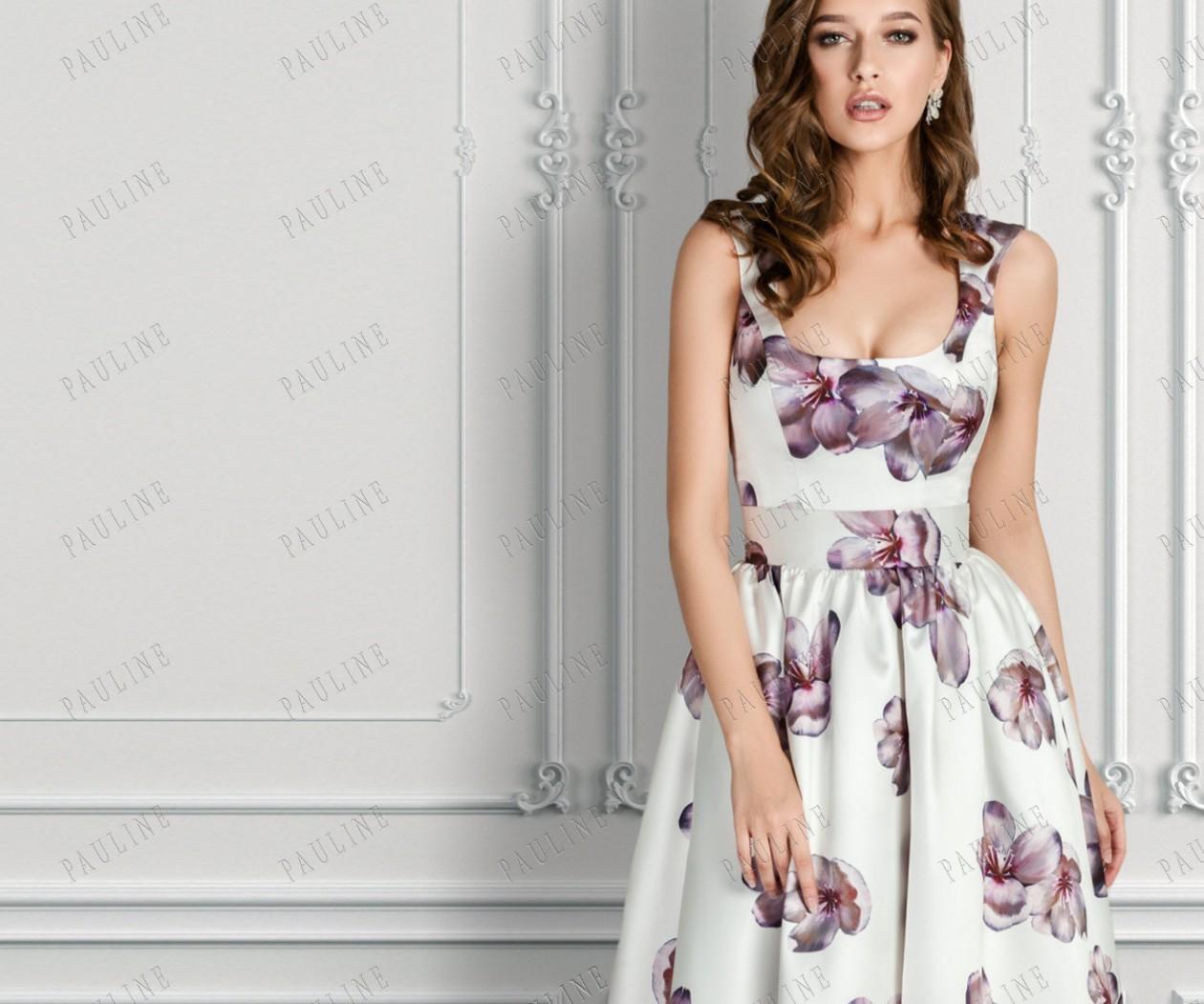 Длинное вечернее платье с фиолетовыми цветами ЮВЕНТА