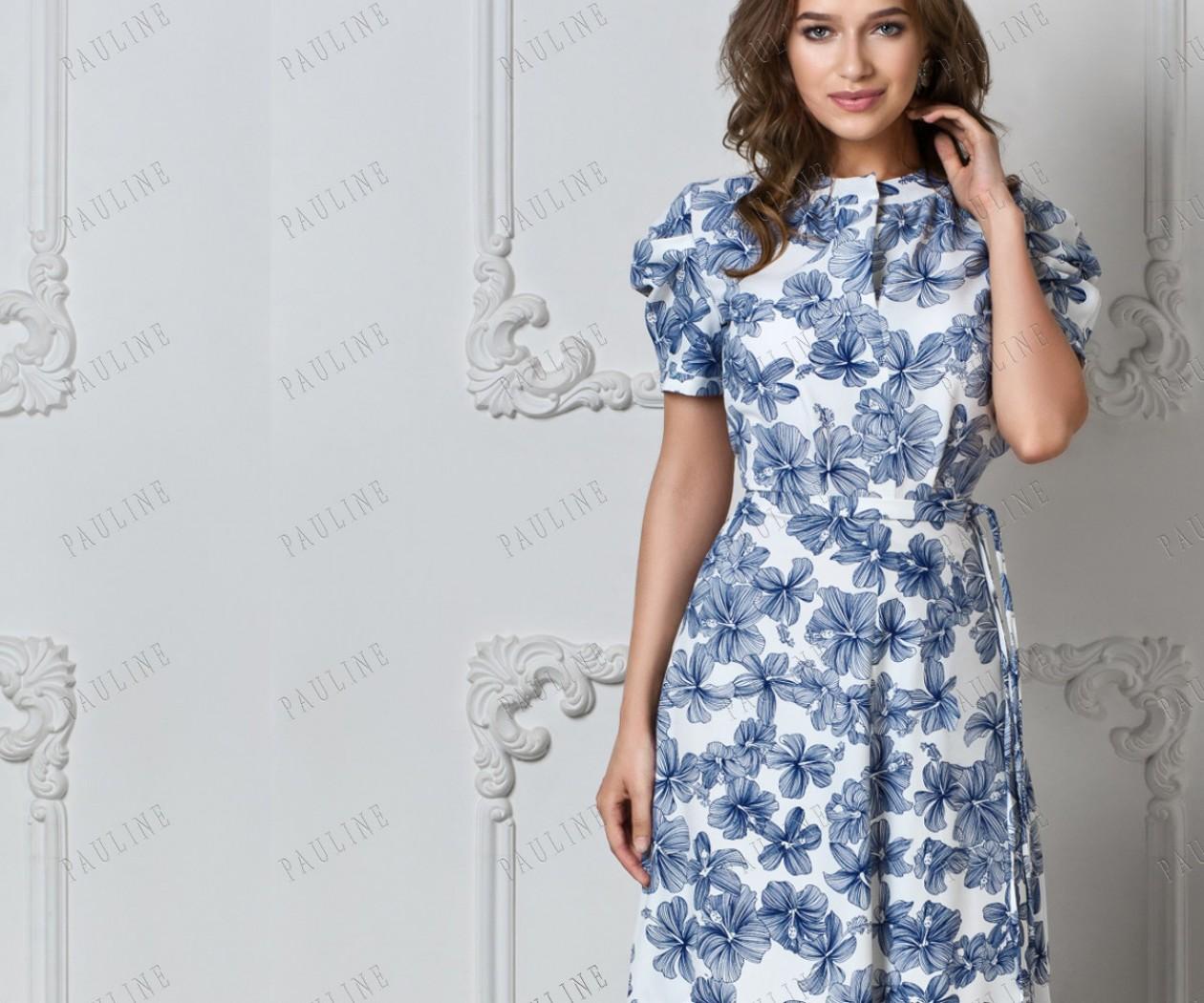 Бело синее вечернее платье с рукавами фанариком ЛАФАЙЕТТ Гибискус