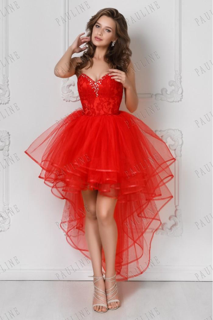 Роскошное вечернее платье на выпускной красного цвета МАРСЕЛЬЕ