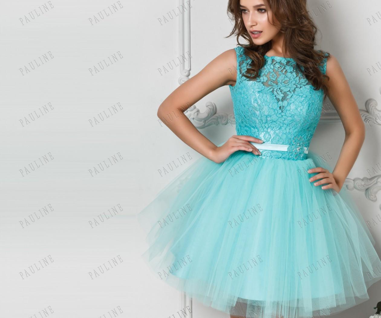 Короткое вечернее платье с кружевом и пышной юбкой ПРИМА Мини