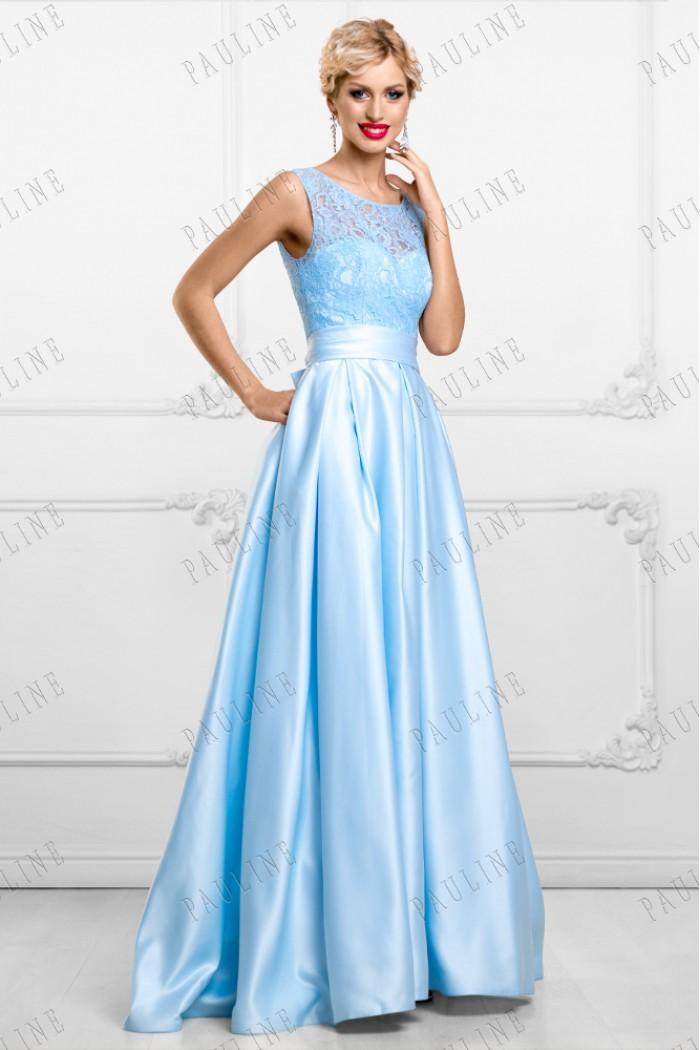 Голубое платье с ажурным лифоми и длинной юбкой в пол АЛЕКСА