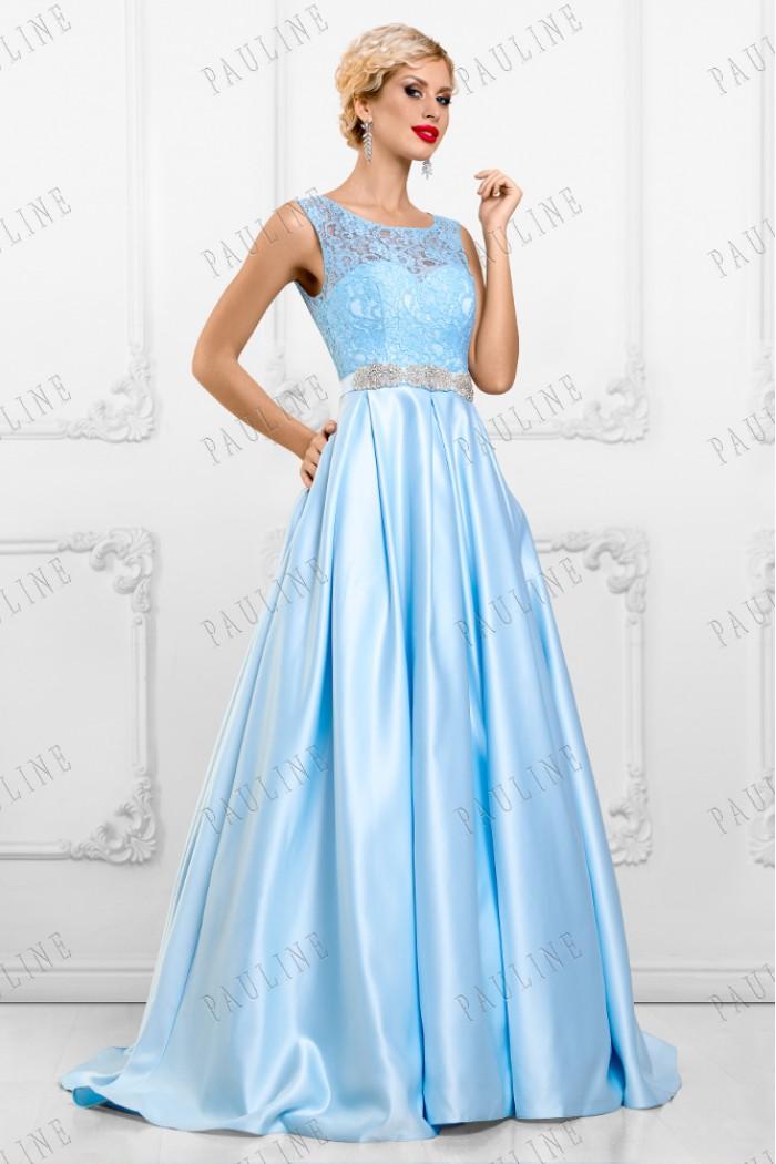 Платье с ажурным лифом и атласной юбкой в пол АЛЕКСА Люкс