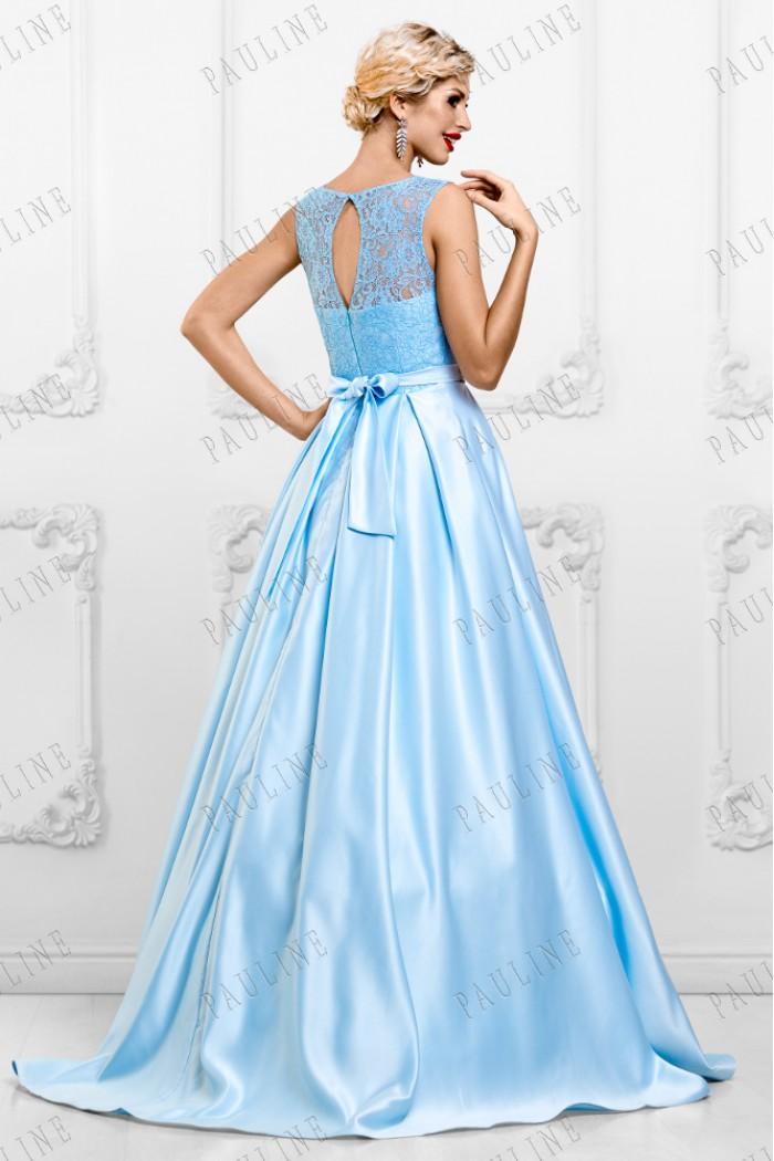 Голубое платье с ажурным лифоми и атласной юбкой в пол АЛЕКСА Люкс