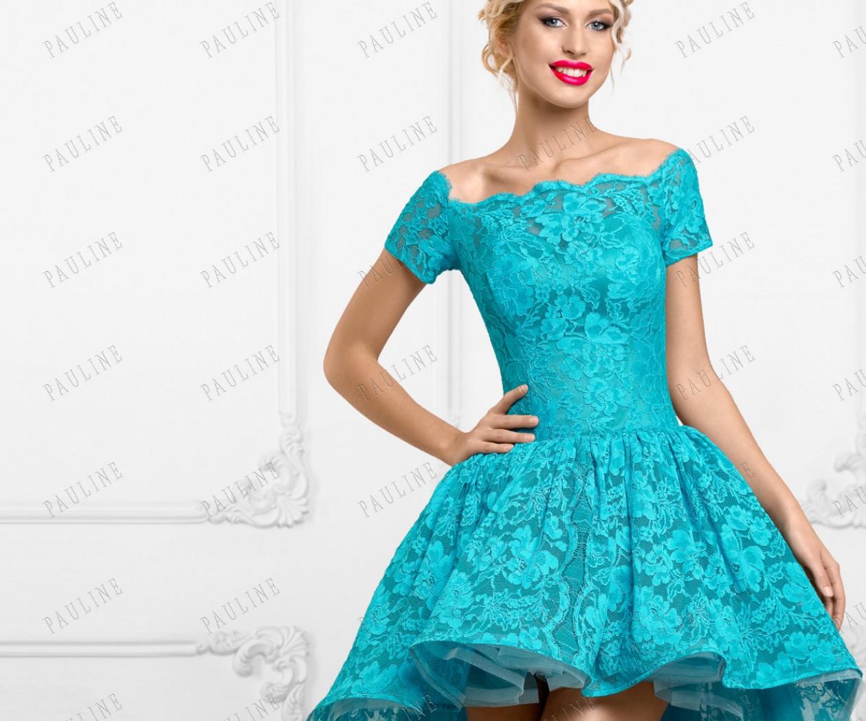 Кружевное бирюзовое платье короткое спереди БАРБЕРИ