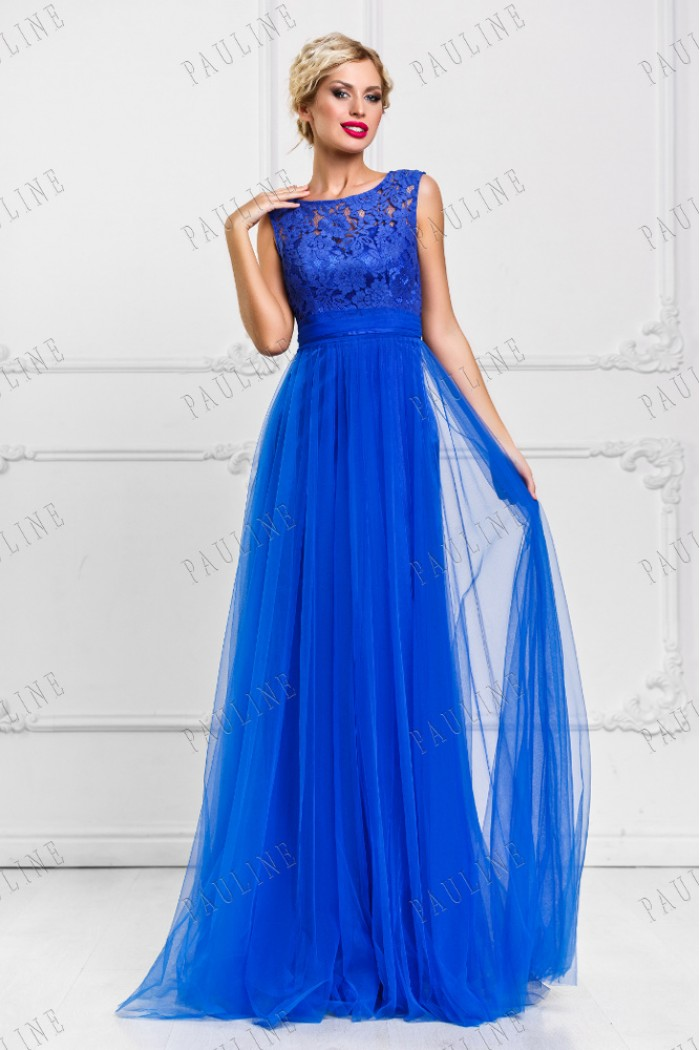 Синее длинное вечернее платье с кружевным топом БЬЕН МАКСИ