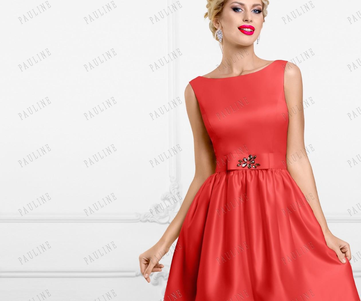Кокетливое вечернее платье красного цвета КОРТНИ