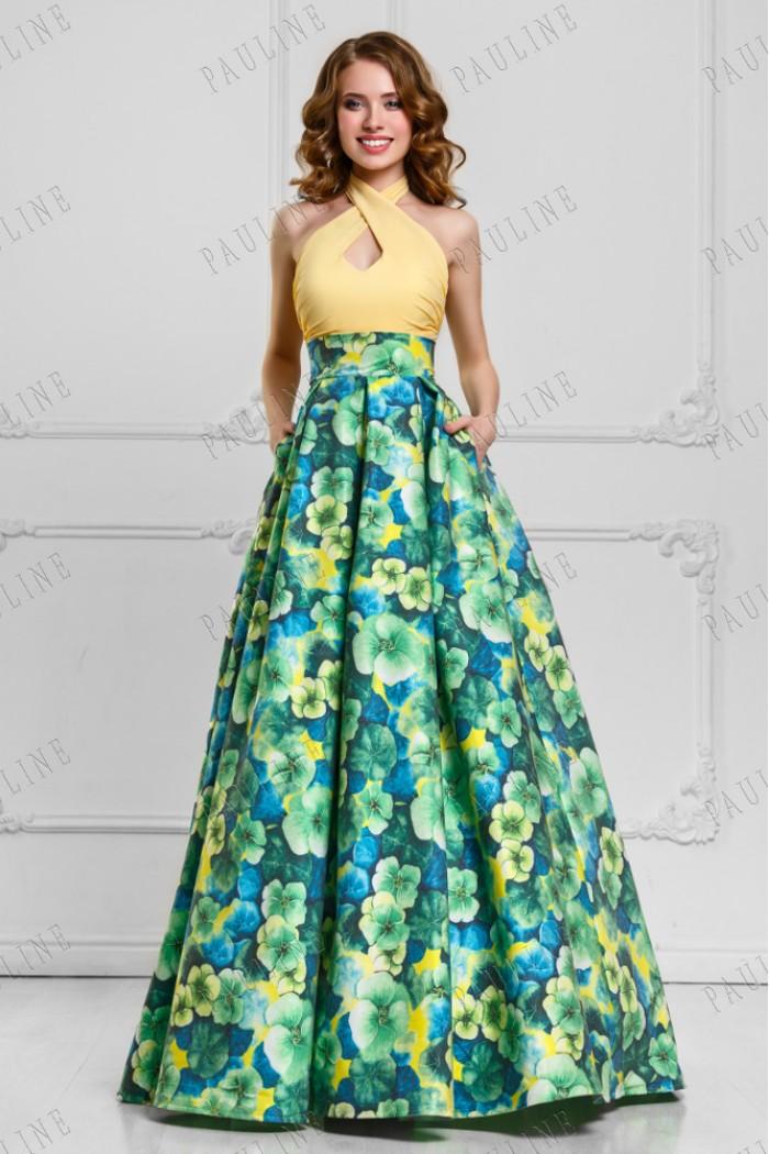 Длинное вечернее платье трансформер с цветочным принтом ФЛОРЕС
