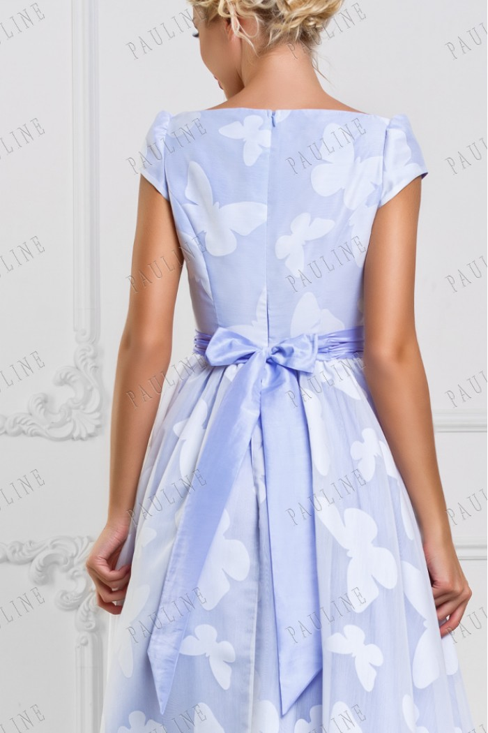 Вечернее платье длины миди нежного цвета с завышенной талией ФОНТЕЙН