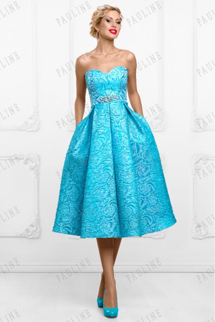 Жаккардовое платье длины миди голубого цвета ДЖЕММА Кристалл