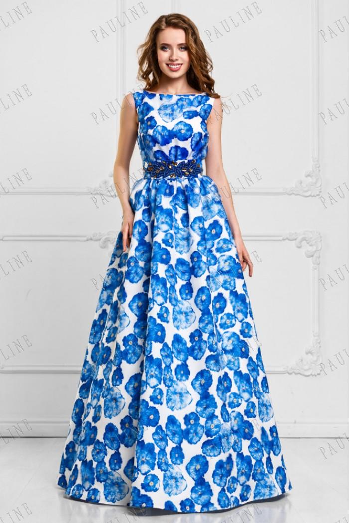 Бело синее вечернее длинное платье с цветами КЬЕСТА
