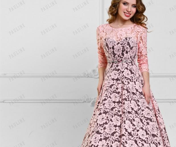 Вечерние платья с гипюром или кружевом
