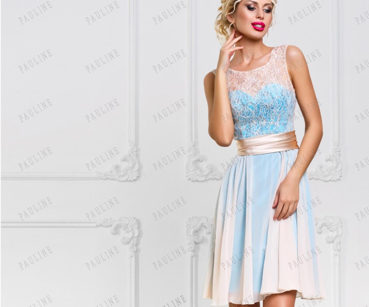 Изящное вечернее платье голубого цвета с ажурной сеточкой МЕГАН