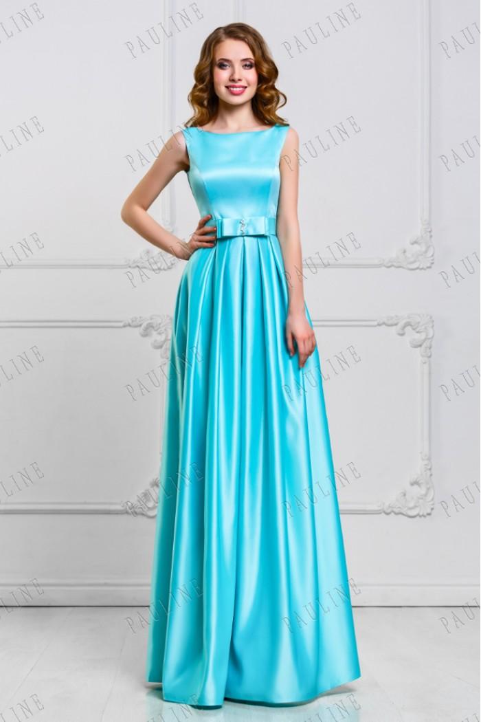 Элегантное длинное вечернее платье из атласа МОНА
