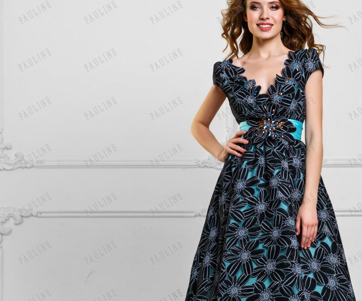 Длинное красивое вечернее платье с цветами НУАР