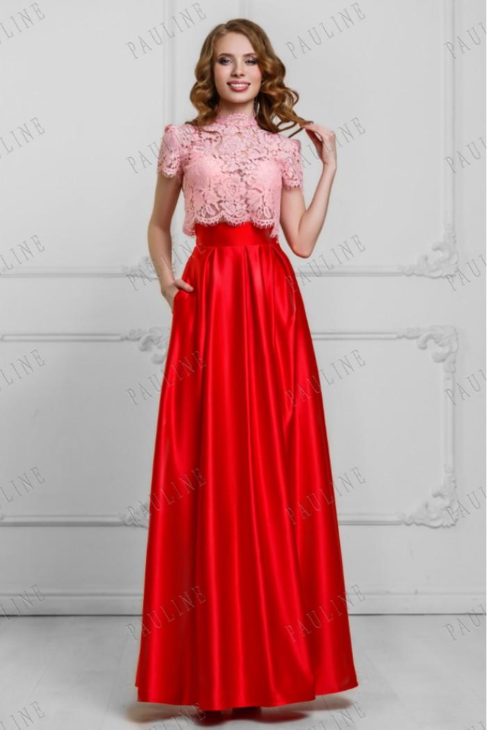 Красивый комплект на вечер - кружевной топ и длинная юбка ПИЛАР