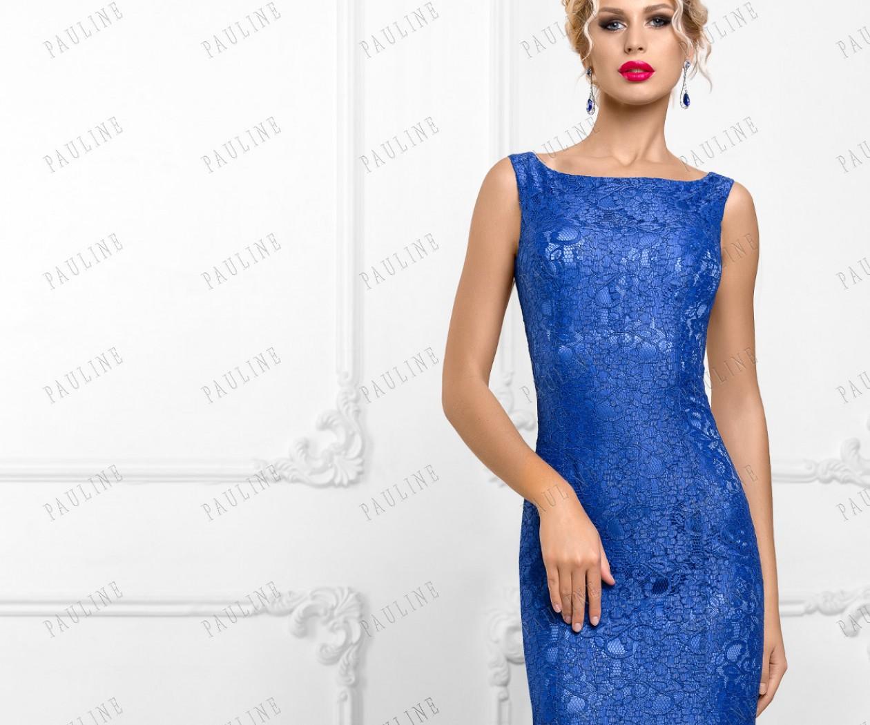 Длинное синее вечернее платье силуэта русалка САНСА
