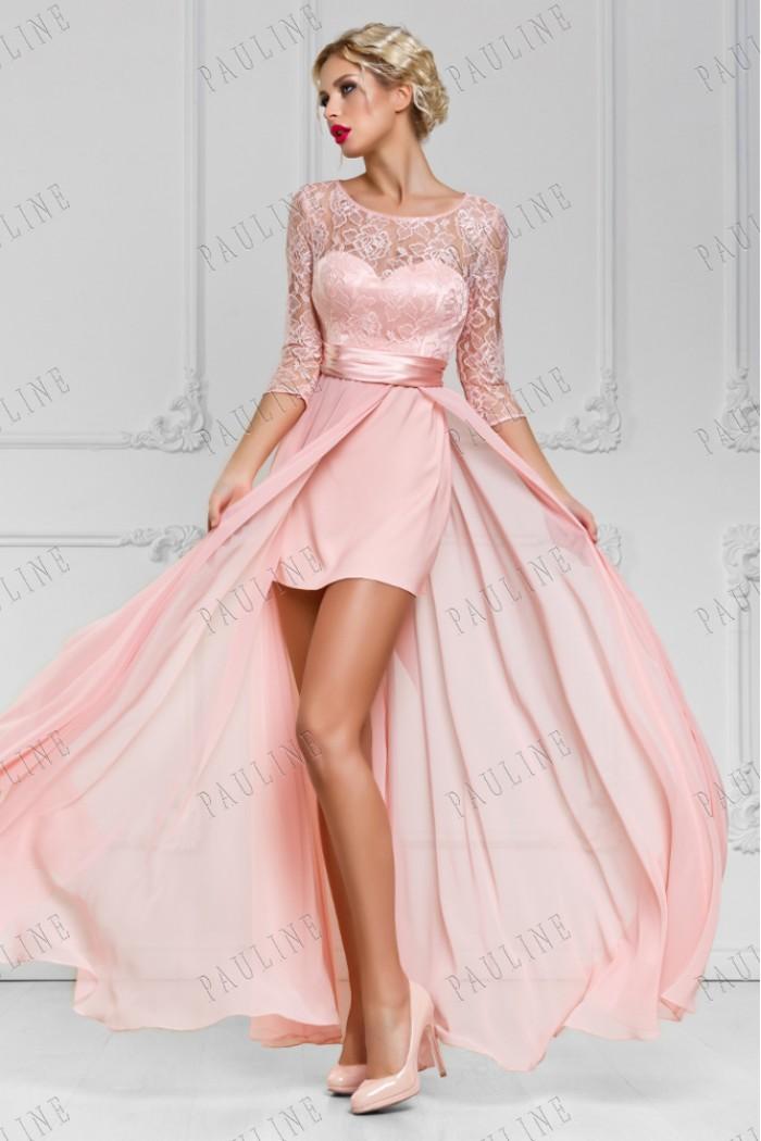 Короткое розовое платье с кружевными рукавами и длинной юбкой САНТАНА