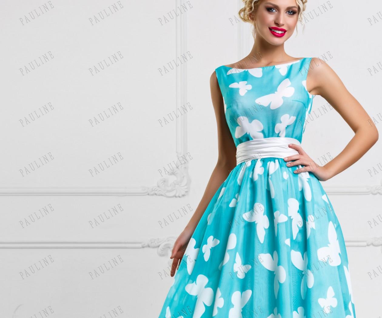Красивое длинное вечернее платье с принтом ТЕОНА